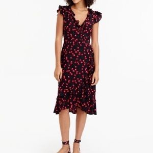 J Crew silk wrap dress in cherry print🍒